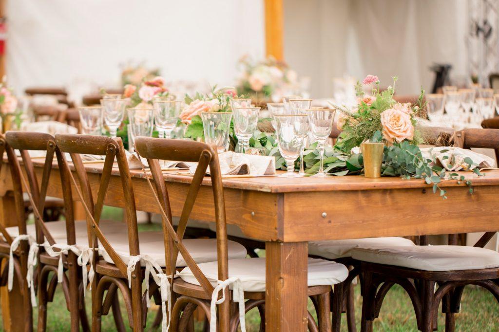 Mahogany X Back Chairs, Wedding, Tent, Richmond, Virginia 2