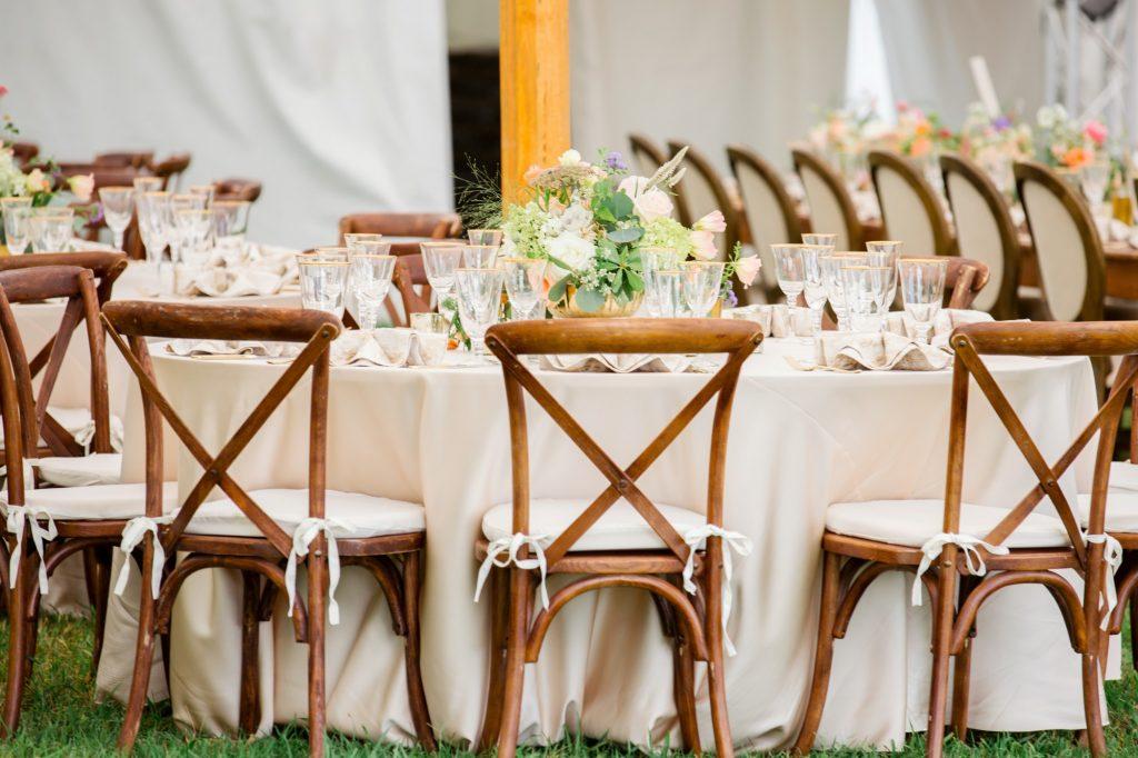 Mahogany X Back Chairs, Wedding, Tent, Richmond, Virginia 5