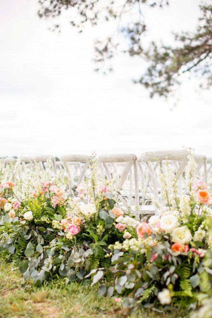 White X Back Chairs, Waterfront Wedding, Richmond, Virginia 2