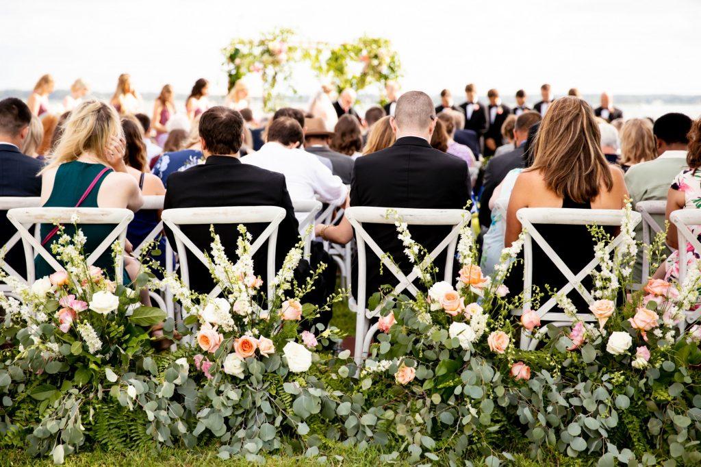 White X Back Chairs, Waterfront Wedding, Richmond, Virginia 6