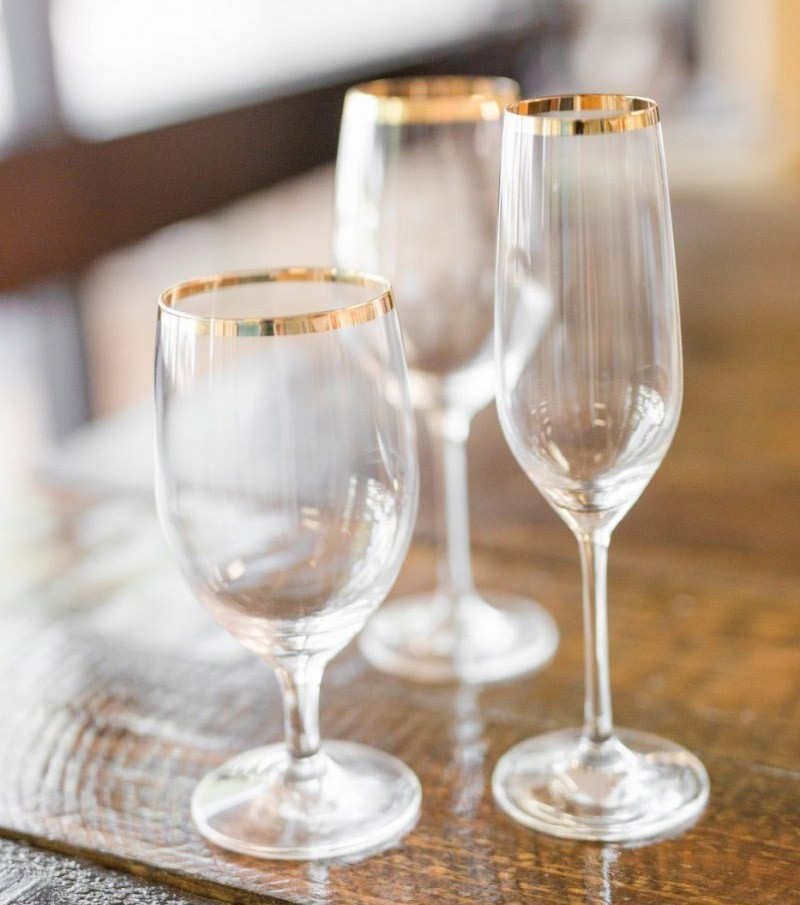New Gold Rimmed Glassware Collection